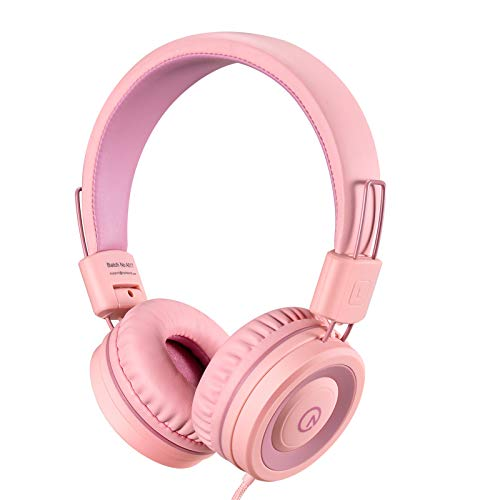 Kids Headphones-noot products K11 Foldable Stereo Tangle-Free 5ft Long Cord 3.5mm Jack Plug in Wired On-Ear Headset for iPad/Amazon Kindle,Fire/Girls/Boys/School/Laptop/Travel/Plane/Tablet-Soft Pink