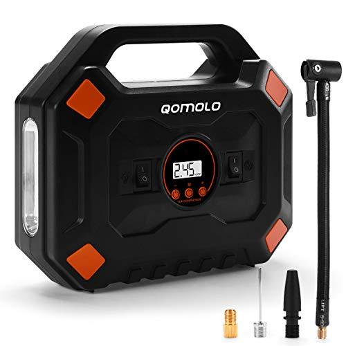 Qomolo Auto Luftpumpe, Luftkompressor Tragbar 12V 120PSI Elektrische Autoluftpumpe Reifen Inflator Kompressor Digital Auto Reifenpumpe mit 3,3 Meter Draht und Manometer