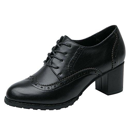 Rismart Mujer Brogue Punta Puntiaguda Wingtips Cuero Oxfords Zapatos De Cordones SN02110(Negro,EU39)