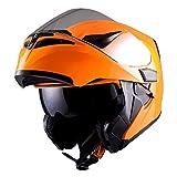 1Storm Motorcycle Modular Full Face Helmet Flip up Dual Visor Sun Shield: HB89 Glossy Orange