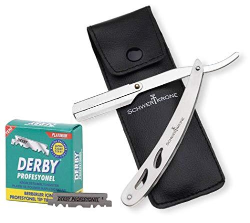 Schwertkrone Rasiermesser Edelstahl + 100 halbe Derby Wechselklingen + Transporttasche   Rasiermesser Set Herren für Einsteiger & Fortgeschrittene