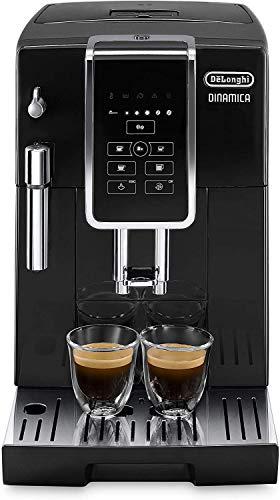 De\'Longhi Dinamica ECAM 350.15.B Kaffeevollautomat mit Milchaufschäumdüse für Cappuccino, mit Espresso und Kaffee Direktwahltasten und Digitaldisplay mit Klartext, 2-Tassen-Funktion, schwarz