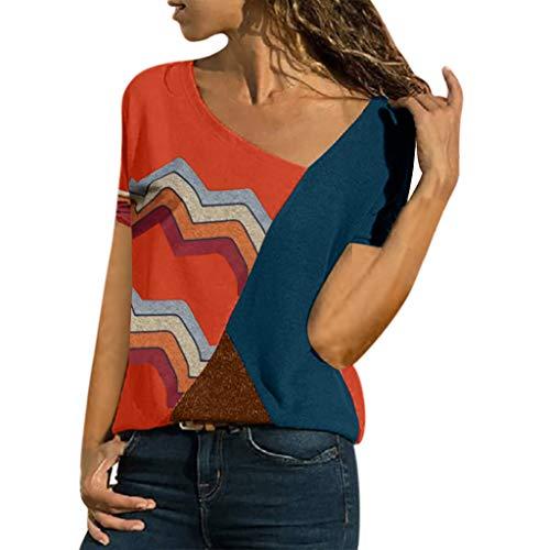 HULKY Vendita Manica Corta T Shirt per DonneEstate Casual Colore Patchwork Rotondo Collo Tee ShirtsDonna Sciolto Camicetta Tops Plus Size(Rosso,Medium)
