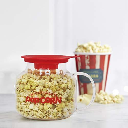 Femora Borosilicate Glass Microwave Safe Popcorn Marker for Serving 4 People (2000 ml, Transparent)