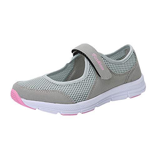 Zapatos Malla de Mujer de Velcro Deportivo de Calzado Casual Ligero Aire Libre y Deporte Transpirables Casual Zapatos Gimnasio Correr Sneakers Zapatillas de Deportivo Ligero y Comodo riou