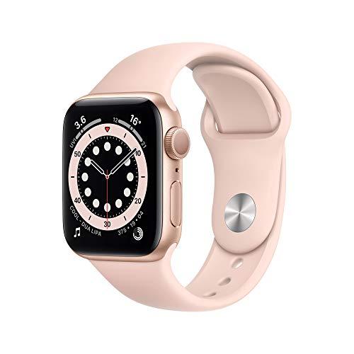 Apple Watch Series 6 GPS, 40mm Gold Aluminium Case with Pink Sand Sport Band - Regular