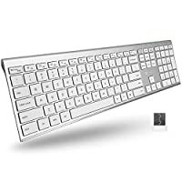 (AMPLIFY YOUR WORKFLOW & WORKSPACE): Thinner than a penny, our slim keyboard is designed with an aluminum frame and a full-sized layout that will enhance both aesthetics and productivity. (A WIRELESS CONNECTION YOU CAN RELY ON): Powerful 2.4G RF tech...
