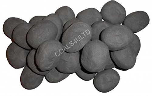 15 Grey RCF certified Gas fire Ceramic Pebbles Replacements Bio Fuels Ceramic In Coals 4 You Packing