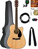 Fender CD-60SCE Dreadnought Acoustic-Electric Guitar - Natural Bundle with Gig Bag, Tuner, Strap, Strings, Picks, Austin Bazaar Instructional DVD, and Polishing Cloth