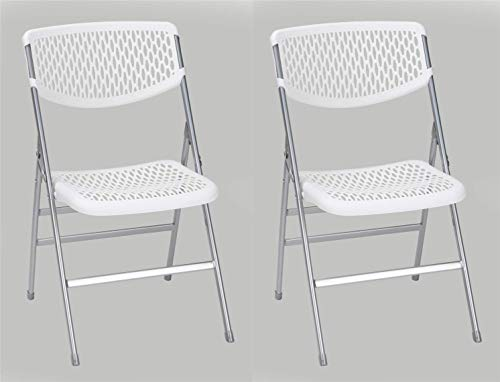 Cosco Products COSCO Commercial Mesh, 2-Pack Folding Chairs, 2 Pack, White Resin