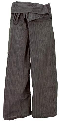 Pantaloni da Pescatore Thailandese in Tessuto a Righe, Pantaloni a Portafoglio, Pantaloni da Yoga, M/L Marrone Scuro, Cotone, Dimensione Indumenti:One Size, Pantaloni da Pescatore Pantaloni da Yoga