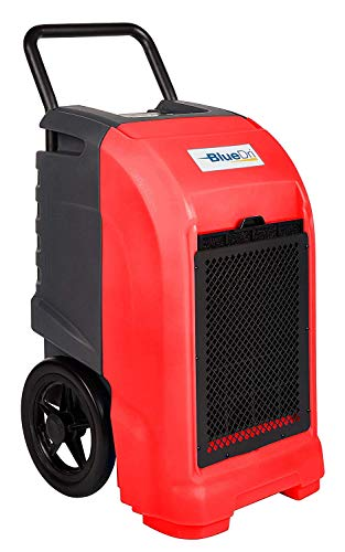 BlueDri BD-76P-RED BD-BD-76-RD BD-76  76 AHAM/150 Saturation PPD Industrial Commercial Grade Water Damage Equipment Large Dehumidifier for Home, Basements, Garages, and Job Sites, Red, Pints