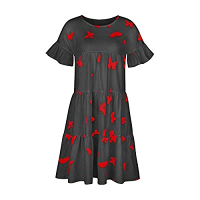 Women Summer Casual Dresses O-Neck Ruffle Cap Sleeve Bandage Frenum Hem T Shirt Dress 2020 New Summer Women Tie-Dye Print Dress U-neck Ruched Tunics Loose Swing Tank Dress Beach Sundress Women Summer Casual Soft Dress Turtleneck Irregular Hem Casual ...