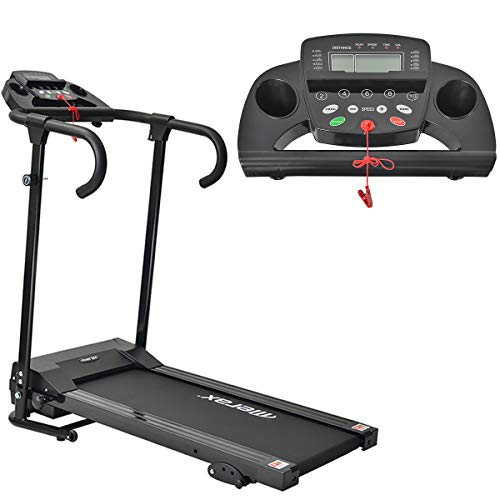 Merax Foldable Motorized Treadmill, Electric Treadmill with LCD Screen and Tablet Holder, 12 Programs, Motorized 10km / h Ideal for Professional Home or Office