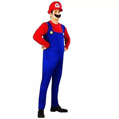 thematys® Super Mario Luigi Gorra + pantalón + Barba - Traje Conjunto para Adultos Carnaval y Cosplay (L, Talla 170-185cm)
