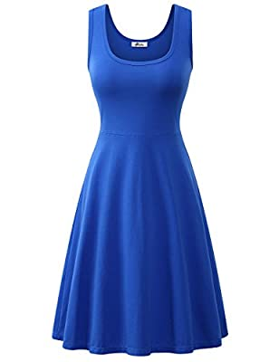 A good amount of stretch.Soild:95%Cotton/5%Spandex;Floral:95%Polyester/5%Spandex Knee length of the dress make it suitable for all everyday and formal occasions Simple design make it fashion forever Standard US Size.An adorable fit and flare fit,wond...