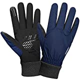 Anqier Winter Gloves for Men Women Thermal Waterproof Warm Fleece Gloves Driving Running Cycling Cold Weather Gloves (Navy, Medium)