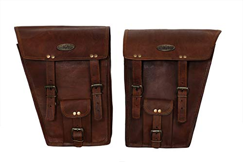 2 X Rowdy Echt Leder Vintage Braun Motorrad Bike Satteltasche Fahrrad Tasche ( Motorcycle Side Pouch Brown Leather Side Pouch Saddlebags Saddle Panniers (2 Bags) Motorcycle Bicycle Bike)
