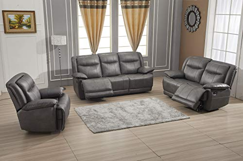 Betsy Furniture Bonded Leather Reclining Sofa Couch Set Living Room Set 8006 (Grey, Sofa+Loveseat+Recliner)