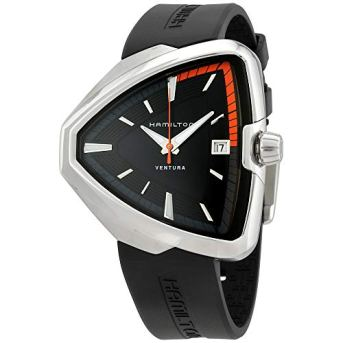 Hamilton Ventura Elvis80 Black Dial Silicone Strap Men's Watch H24551331