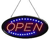 SOVIYAS LED Open Sign 19x10 pouces (48x25cm) avec 2 modes de clignotants...
