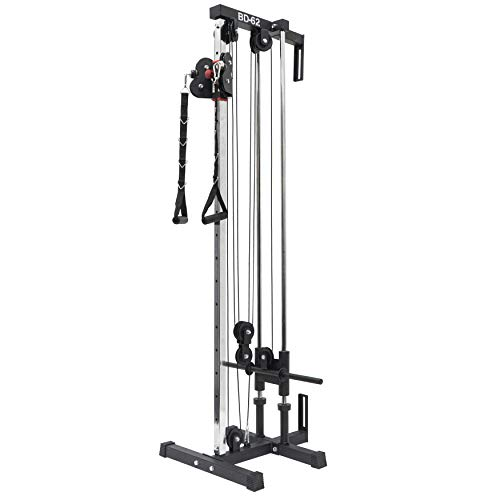Valor Fitness BD-62 Wall Mount Cable Station with Adjustable Dual Pulley System and Strap Handles for Functional...
