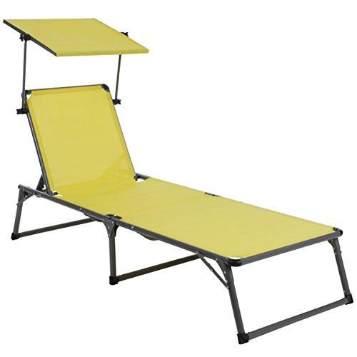 Ultranatura Aluminium Sonnenliege Nizza mit Dach, platzsparende Gartenliege, ideal für Garten und Camping, faltbar verstellbare Rückenlehne, Lounge Relaxliege, wetterfest, 193 x 67 x 32 cm, grau
