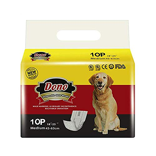 DONO Disposable Dog Diapers Male Dog Wraps Super Absorbent Soft Diapers for Male Dogs,with Wetness...