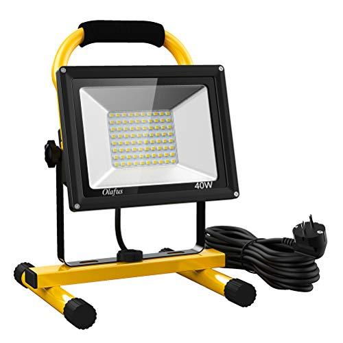 Olafus 40W 4000LM LED Baustrahler, 2 Helligkeitsmodi IP65 Wasserdicht LED Arbeitsleuchte Bauscheinwerfer, 5000K Tageslichtweiß Arbeitsscheinwerfer Strahler Fluter für Werkstatt, Baustelle, Garage
