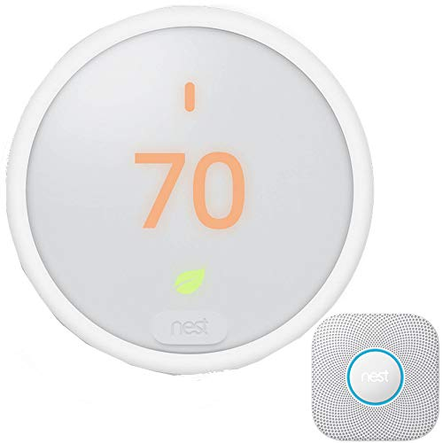 Nest Protect Smoke and Carbon Monoxide Alarm 2nd Generation (White) S3000BWES with Nest T4000ES Learning Thermostat E