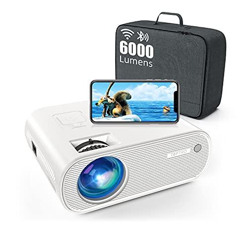 Vidéoprojecteur WiFi Bluetooth , 6000 Lumens TOPTRO Mini Projecteur Portable Supporte 1080P Full HD Rétroprojecteur Multimédia Home Cinéma,Compatible Phone, TV Stick, HDMI AV USB