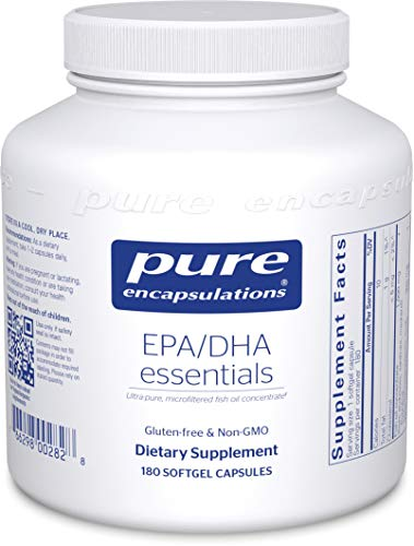 Pure Encapsulations - EPA/DHA Essentials - Ultra-Pure, Molecularly Distilled Fish Oil Concentrate - 180 Softgel Capsules