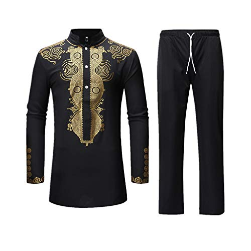 Men's Casual African Dashiki Print Two Piece Outfit Long Sleeve Slim Fit Hipster Shirt Pants Set (A-Black, XXL)
