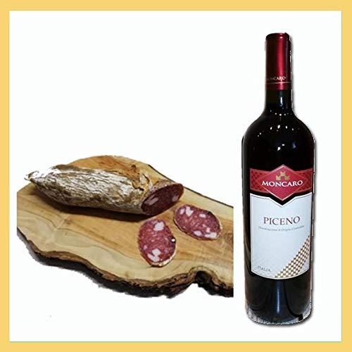 Selezione Rosso Piceno 303. 1x salame duro lardellato tipo fabriano 650 gr, 1x Vino Rosso Piceno doc, cantina Moncaro, Ancona, Italy, prodotti tipici marchigiani