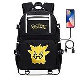 Adolescente Mochila al Aire Libre Unisex Daypack Pikachu Serie Casual School Travel Laptop Tablet Bags with USB Port 17 Pulgadas Estilo-7