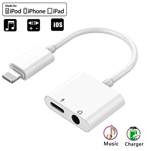 (Apple MFi Certified)3.5mm Headphone Adapter for iPhone Splitter Jack Earphone Cable,2 in 1 Headphone Audio & Charger Compatible for iPhone 11/11 Pro/X/XR/XS/8 7,Support Calling & Music Control iOS 13