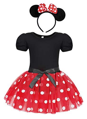 Jurebecia Kleinkind Mädchen Tupfen Kleider Prinzessin Bowknot Tutu Kleid + Mini Maus Ohr Stirnband Geburtstagsfeier Outfits 2-3 Jahre Rot
