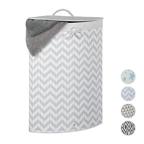 Relaxdays Eckwäschekorb Bambus, faltbare Wäschebox 60 l, Deckel, Zickzack-Muster, Wäschesack, 65,5x49,5x37 cm, weiß-grau