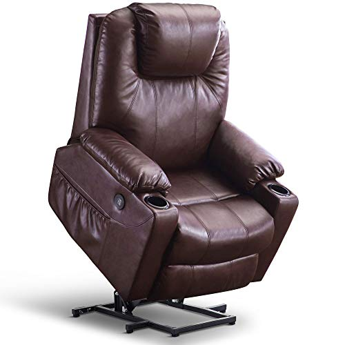Mcombo Large Power Lift Recliner Chair with Massage and Heat for Elderly Big and Tall People, 3 Positions, 2 Side Pockets and Cup Holders, USB Ports, Faux Leather 7517 (Large, Dark Brown)