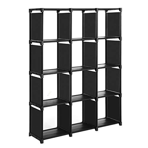 SONGMICS Scaffale Portaoggetti a 12 Cubi, Libreria Fai da Te, Guardaroba Modulare a 12 Cubi, in...