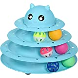 UPSKY Cat Toy Roller 3-Level Turntable Cat Toys Balls with Six Colorful Balls Interactive Kitten Fun Mental Physical Exercise Puzzle Kitten Toys.