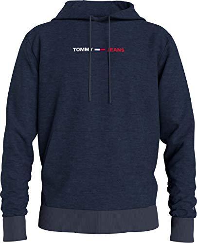 Tommy Jeans Tjm Straight Logo Hoodie Felpa con Cappuccio, Blu (Twilight Navy Htr), M Uomo