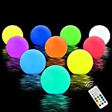 Chakev Floating Pool Lights, 16 Colors LED Glow Pool Ball Lights with Remote, Waterproof Light up Pool Float Hot Tub Bathtub Night Lights for Pond Fountain Garden Lawn Party Decor 10 Pack