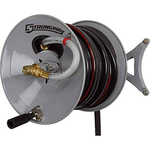 Strongway Parallel or Perpendicular Wall-Mount Garden Hose Reel -...