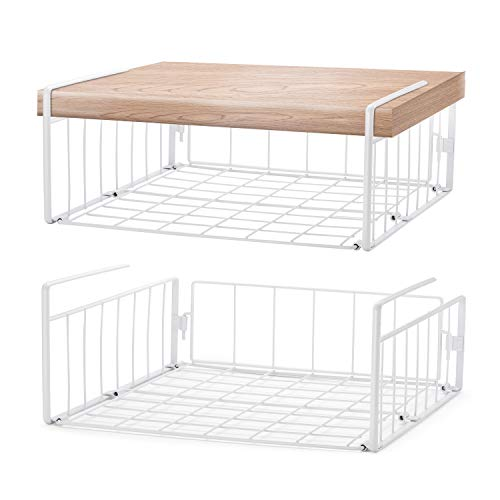 SimpleTrending Under Cabinet Organizer Shelf, 2 Pack Wire Rack...