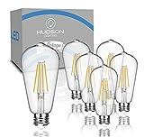 Vintage LED Edison Light Bulbs, 6 Watt, 4000K Daylight White Lightbulbs - 60W Equivalent - E26 Base - Filament Light Bulb Set - Non Dimmable - 6 Pack