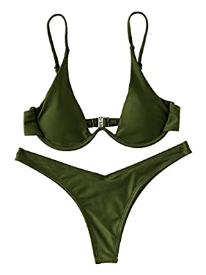 Material: 82% Polyamide, 18% Spandex Push up padded bra support Adjustable Straps, Underwire, Brazilian Bottom Triangle bikini top, Removable Push up Enhancement Padding Please refer to the Last Picture about size guide carefully before purchasing