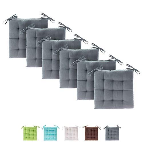 etérea Basic Sitzkissen, Stuhlkissen mit Bändern - für Innen- und Außenbereich geeignet, Sitzpolster Auflage für Haus und Garten - 6er Set - 40x40 cm, Grau
