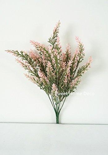Sweet Home Deco 10'' Astilbe Artificial Flower Bush Filler Flowers Set of 2 (Pink)