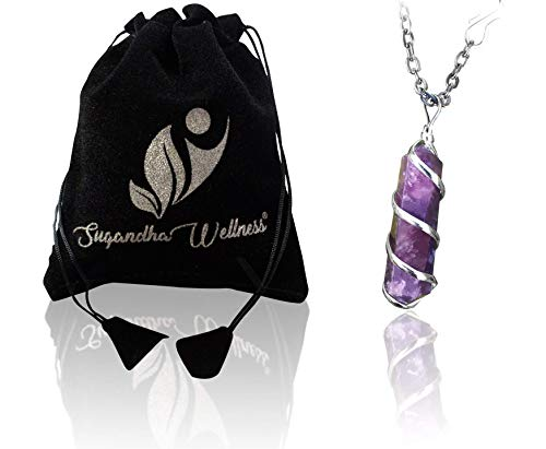 Natural Lepidolite Crystal Healing Necklace - For Crown...